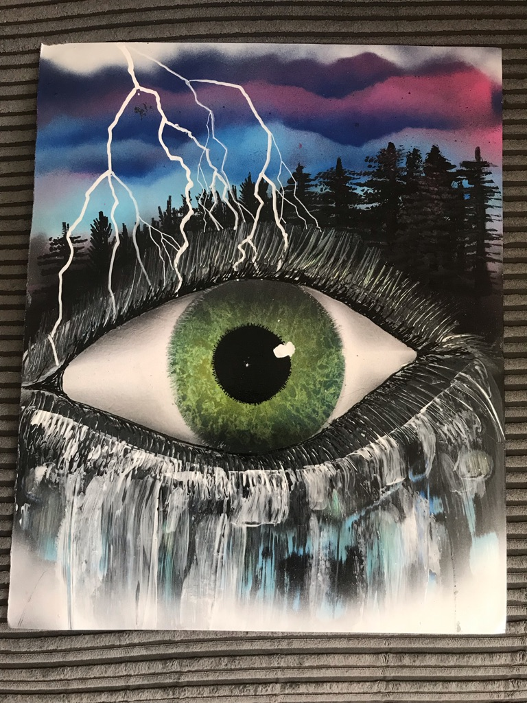 Spray painted eye