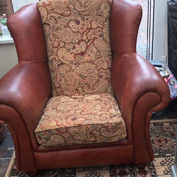 Arm chair leather tapestry wooden legs