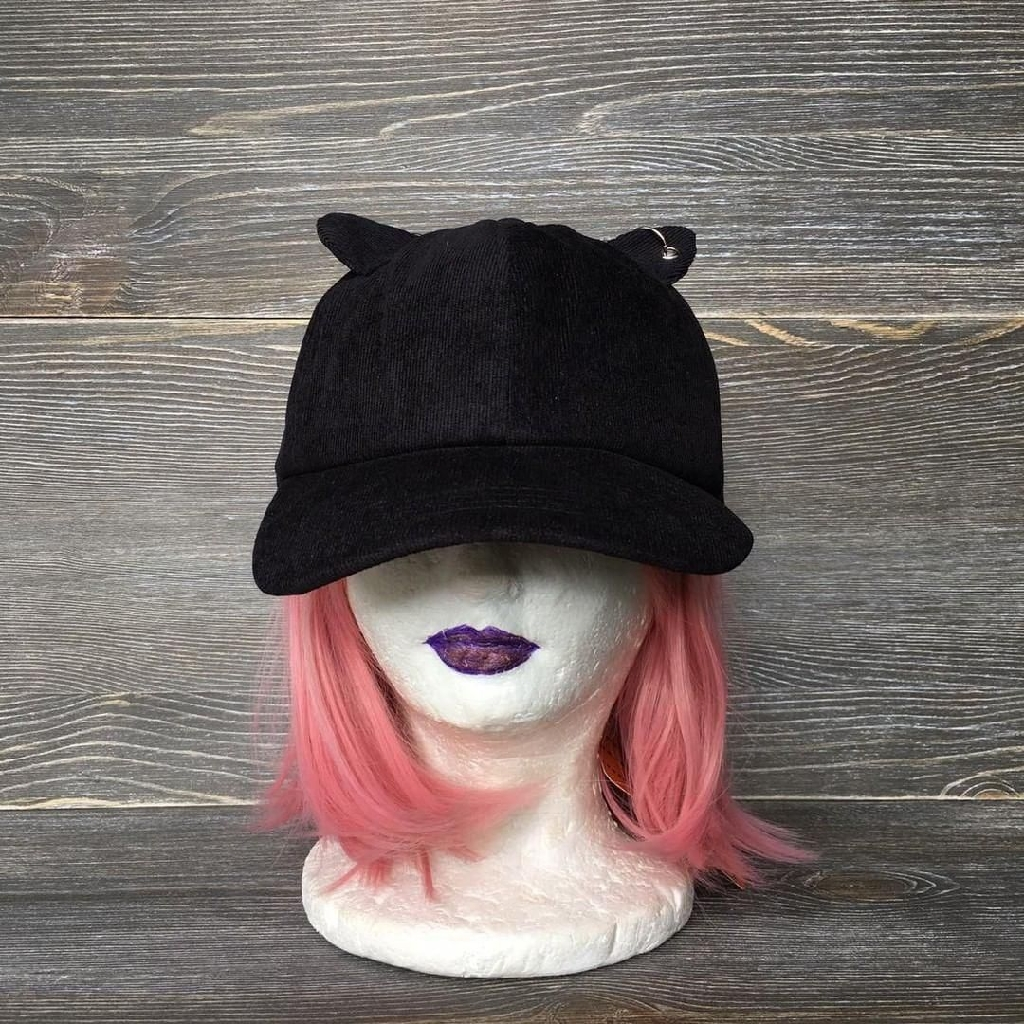 Black suede cat ears hat adjustable