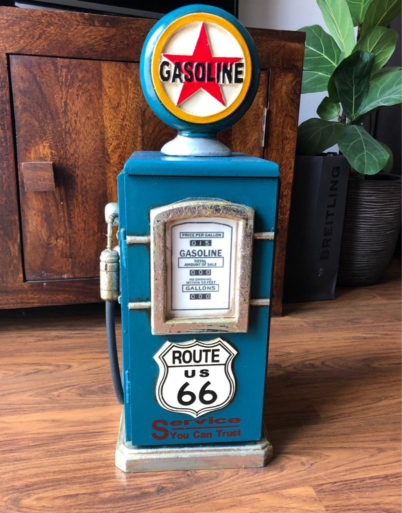 "Retro Vintage ""Route 66"" Petrol Pump CD Rack Cabinet"