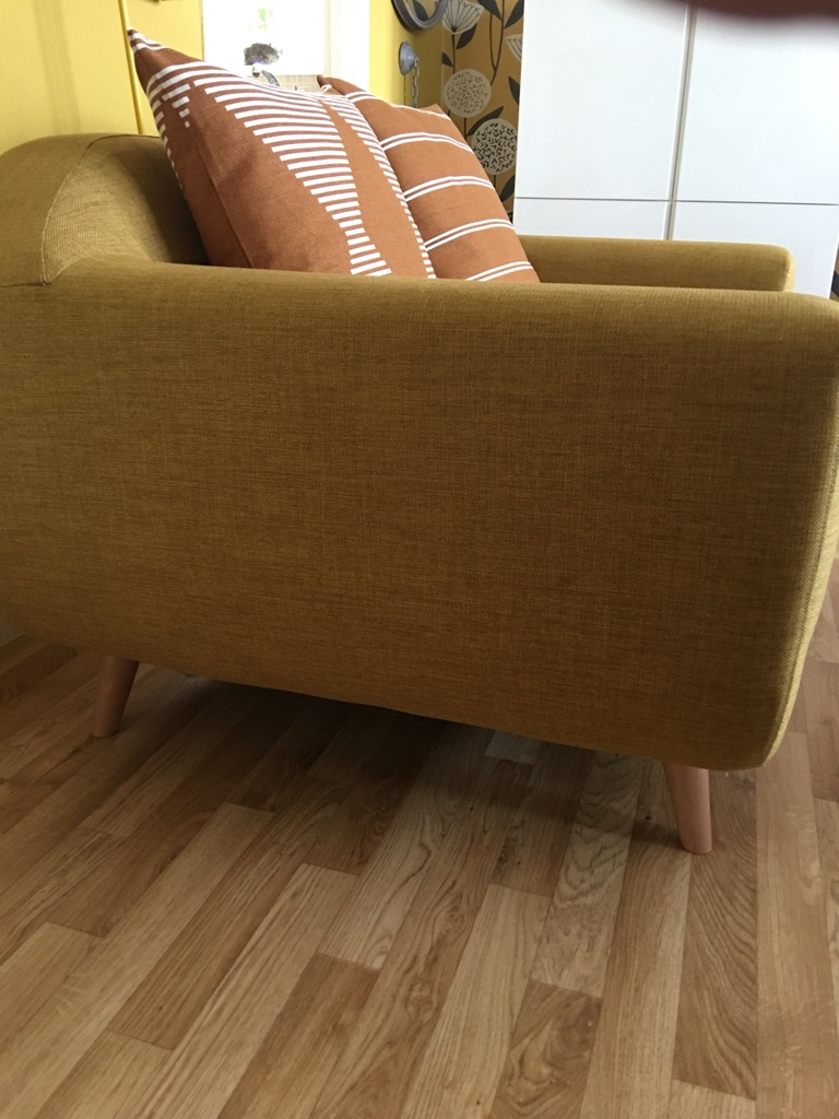 2 and 3 seater mustard colour sofa