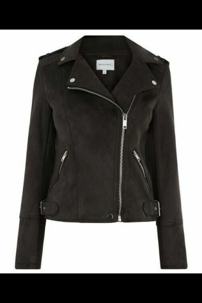 Warehouse suedette biker jacket- Faded Black- Size 12