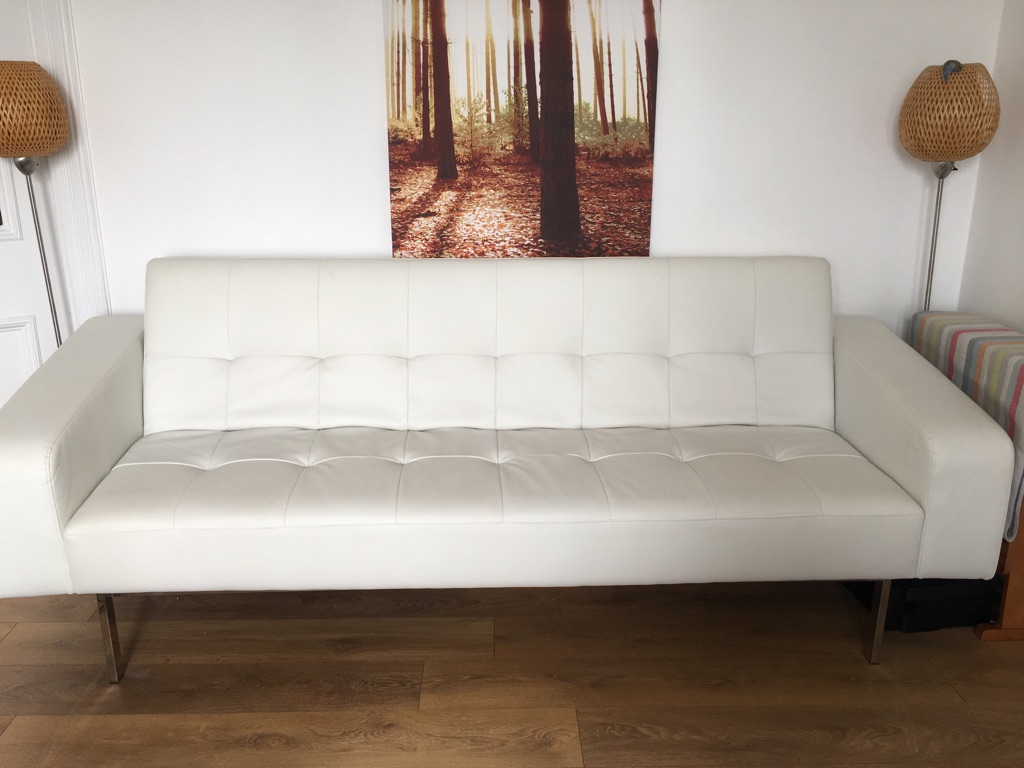 Modern White Leather Bed Sofa