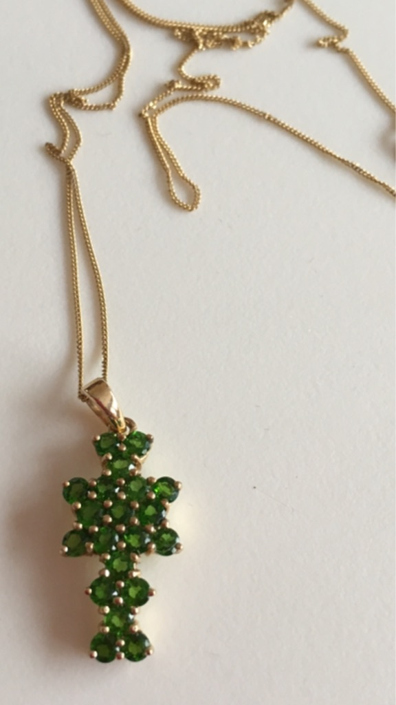 1.4ct Russian Diopside Yellow 9K Gold with Gold Chain