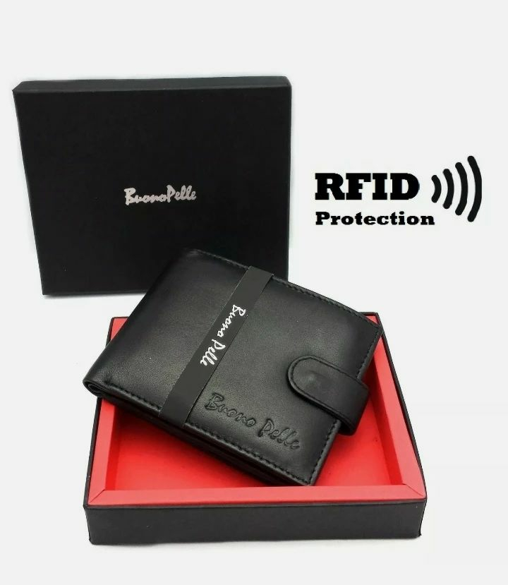 RFID SAFE MENS DESIGNER REAL LEATHER WALLET WITH LARGE ZIP COIN POCKET/POUCH