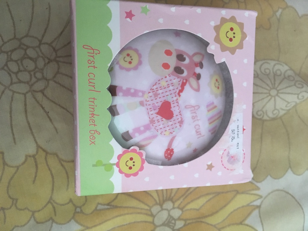 Baby girls first curl trinket box