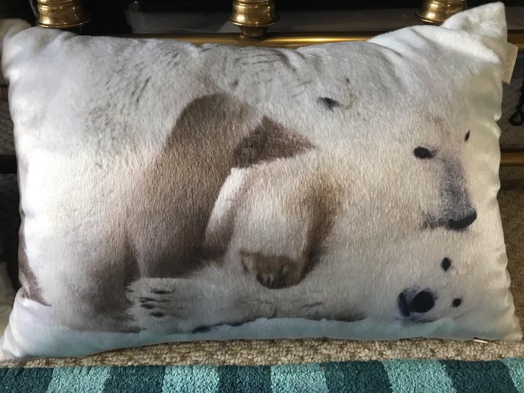 2 small rectangular velvet effect cushions with photographic polar bear imagery