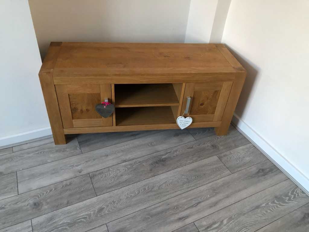 Solid oak tv unit