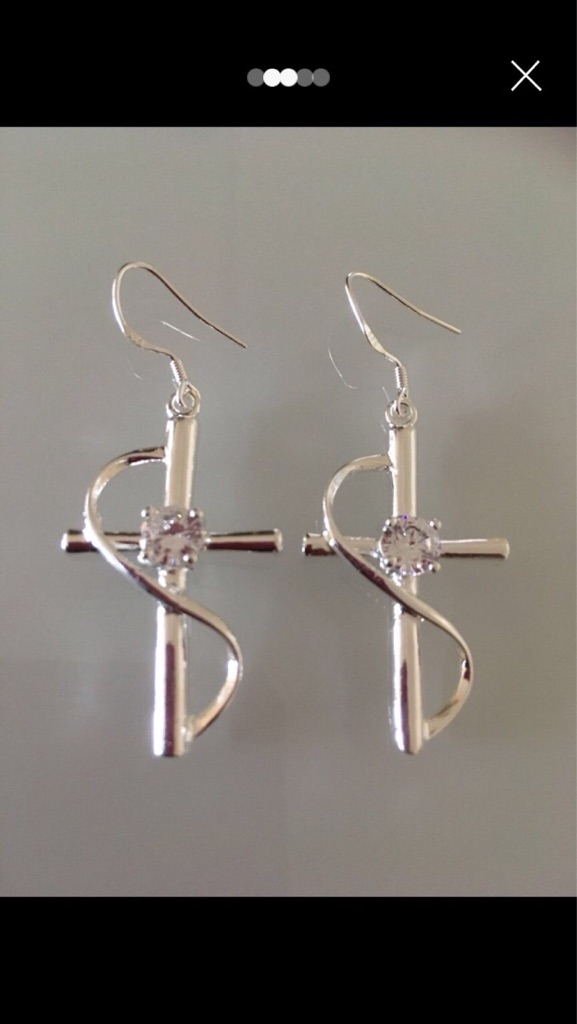 New 925 silver cross earrings