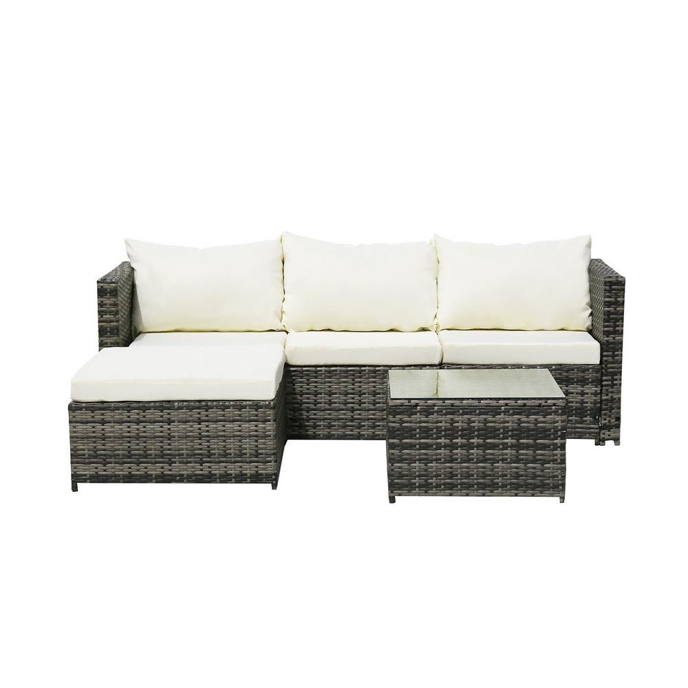 4-Seater Chaise Corner Sofa Gray Gradient Rattan Beige Cushion Rattan Three-Piece Set - Free Delivery