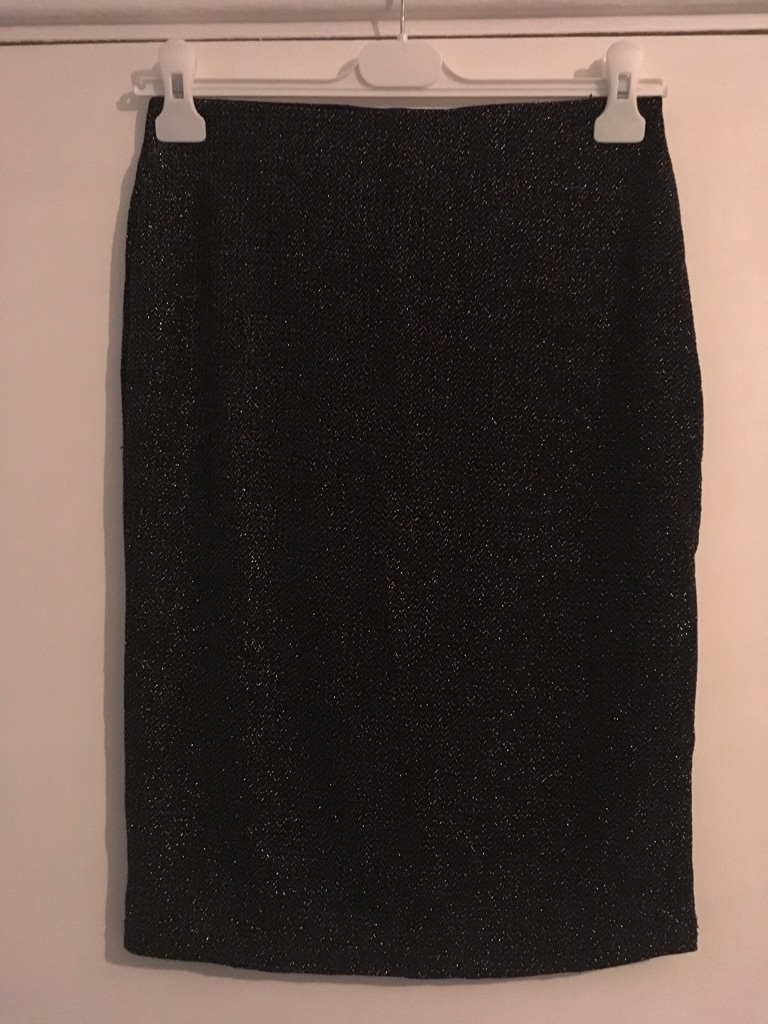 Black and silver sparkly bodycon skirt size M by MINIMUM
