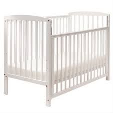 White drop side cot with brand new mattress