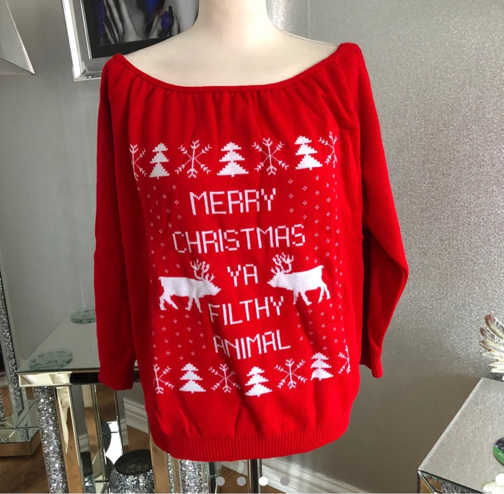Women's red white Christmas jumper by boohoo size M/L