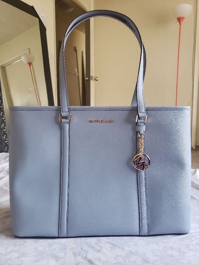 Large light blue Michael Kors jet set tote and matching wallet