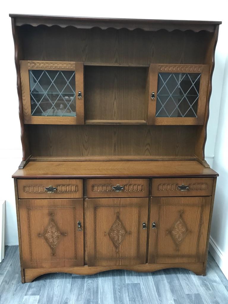 Oak Dresser and display cabinet