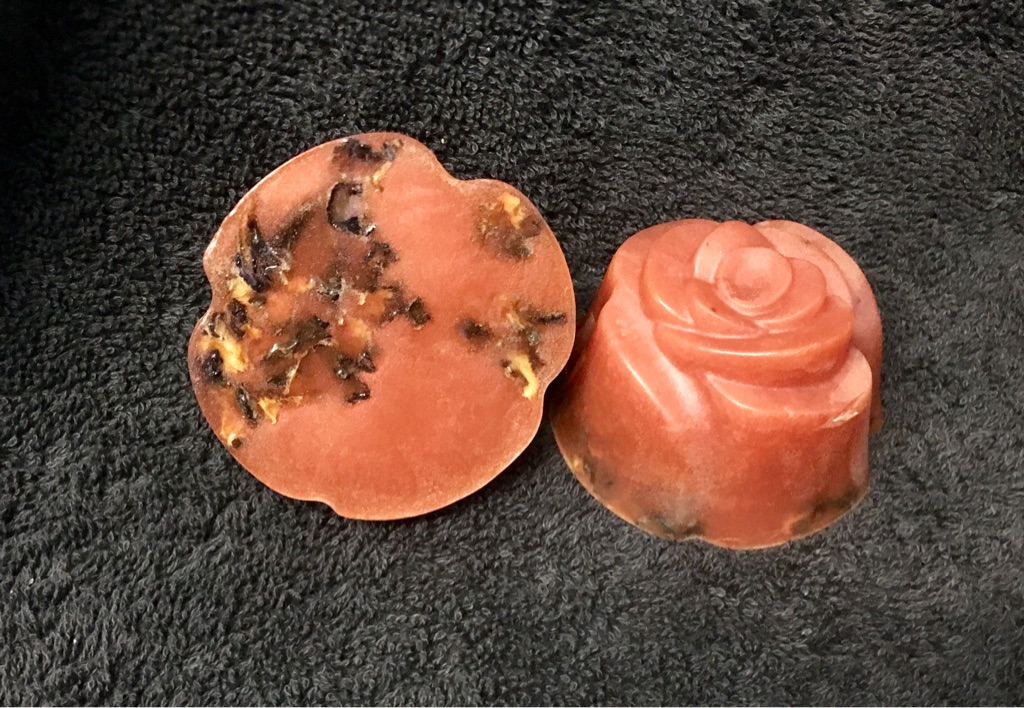 Rose scented soap with organic rose petals