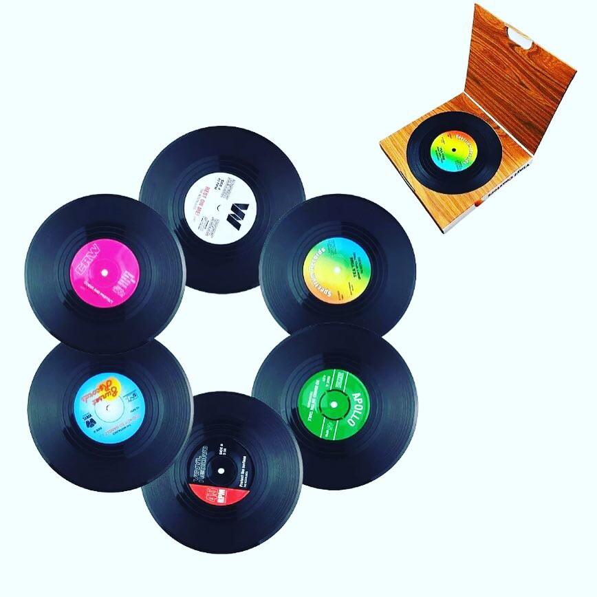 SET OF 6 Boxed Vinyl Records Coasters Non-Slip Music Gift Retro