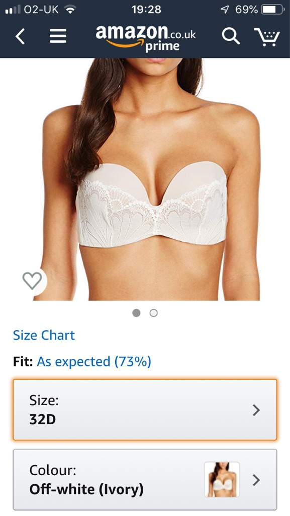 Brand new WONDERBRA ultimate strapless 32D with lace detail ivory