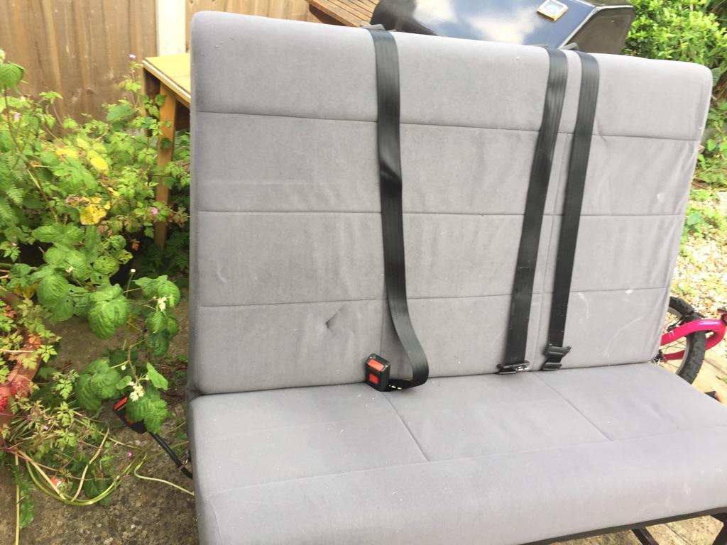 Van back seat with belt