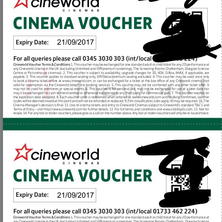 Cineworld voucher x6,
