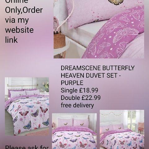 🛌🏻DREAMSCENE BUTTERFLY HEAVEN DUVET SET - PURPLE 💥single £18.99 Double £22.99🚚free delivery