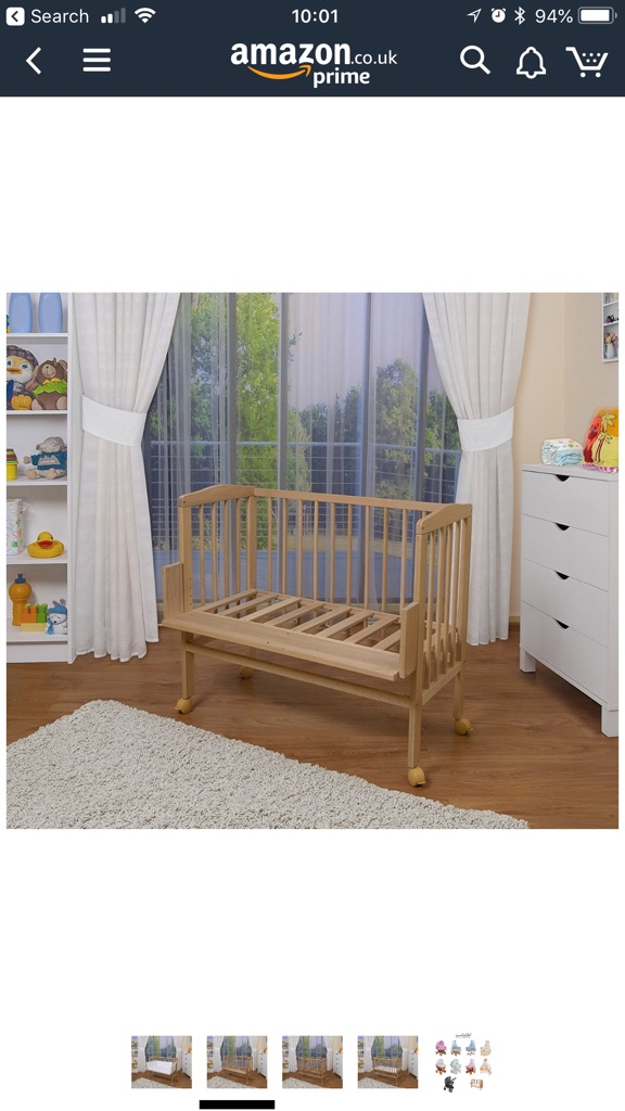 WALDIN SOlid Beech Wood Baby bed