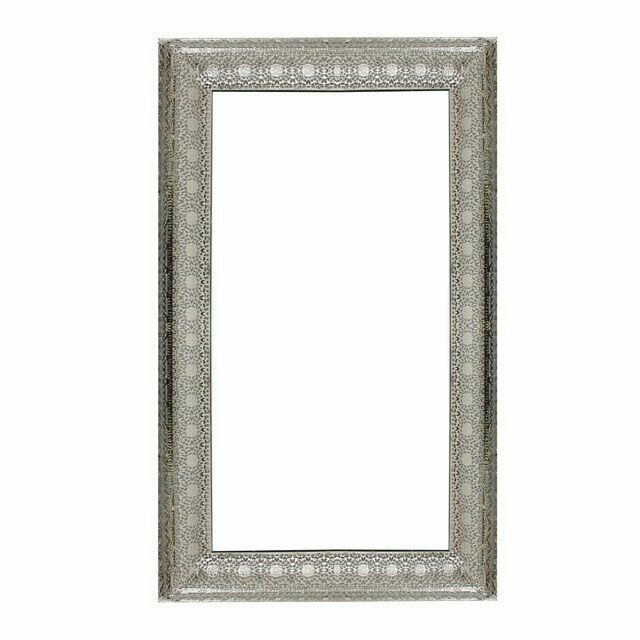 Moroccan Arabian Metal Vintage Ornate Cut Out Rectangular Shape Large Wall Mirror