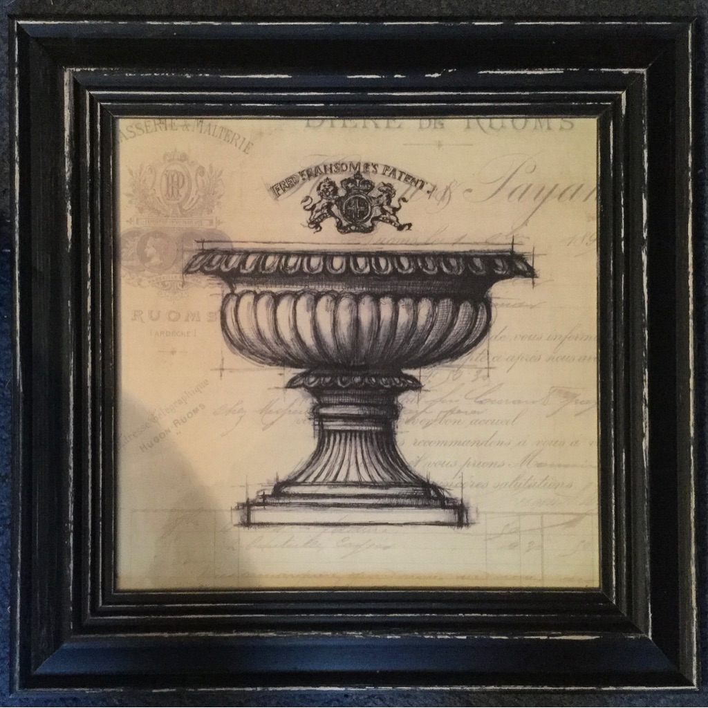Framed drawing of stone urn