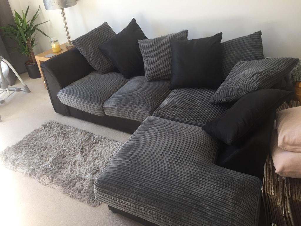 Corner Sofa - Black and Grey