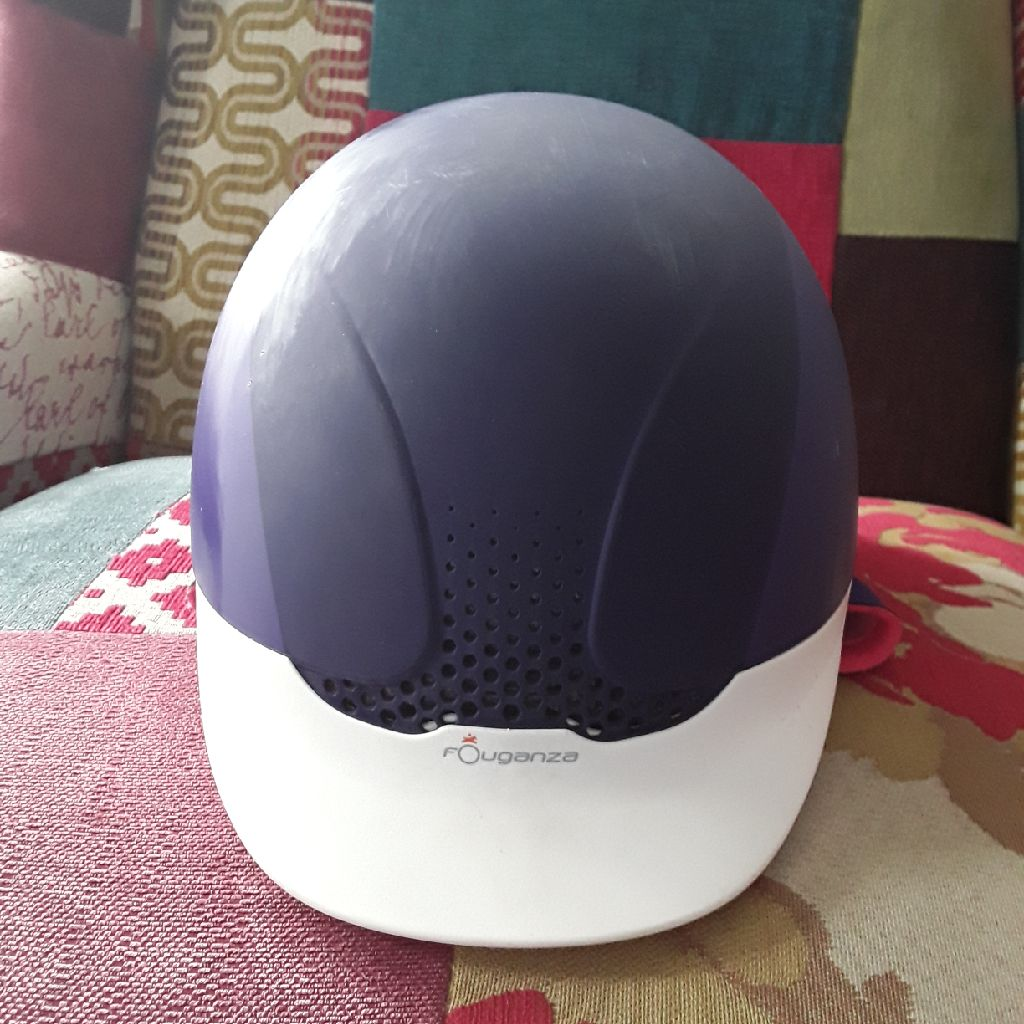 Fouganza purple riding helmet
