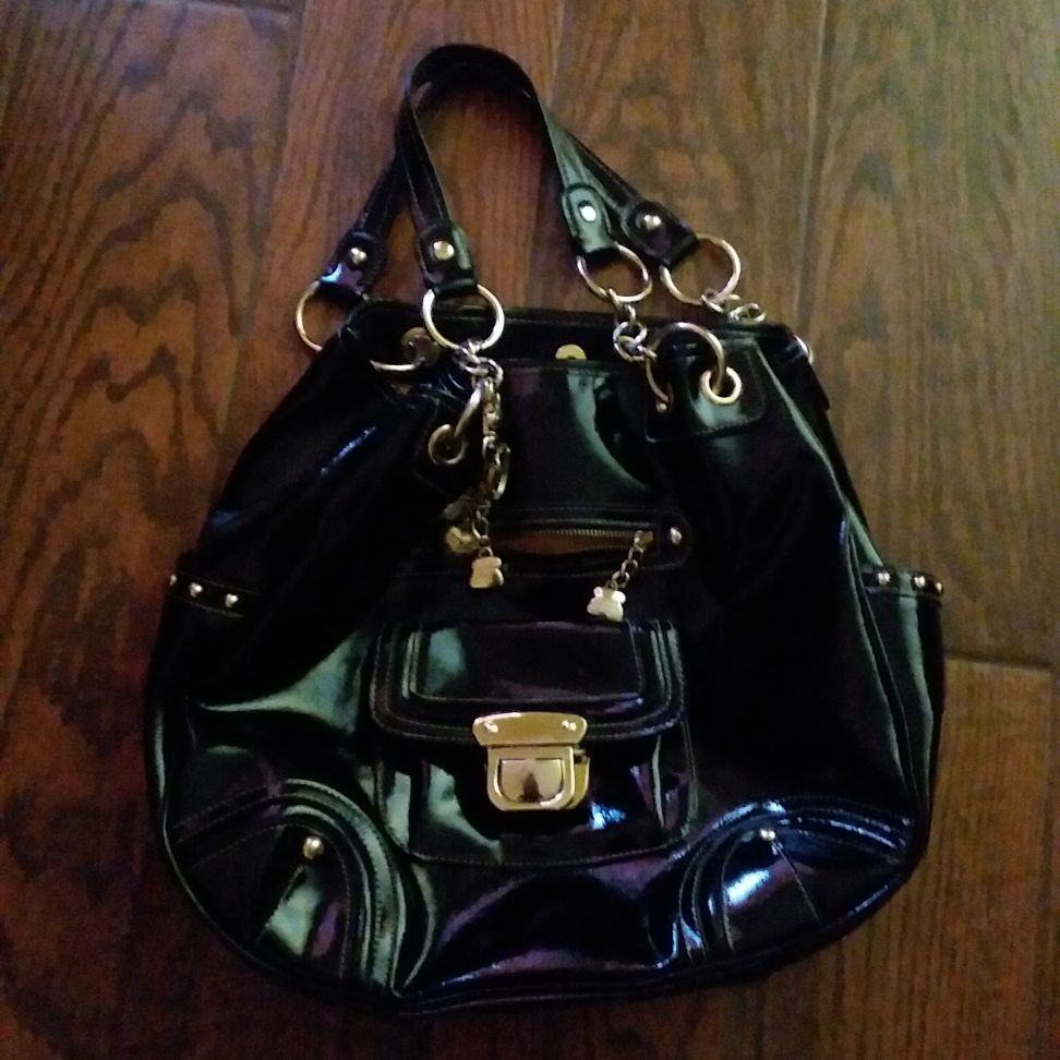 Black leather Kathy Van Zeeland Purse