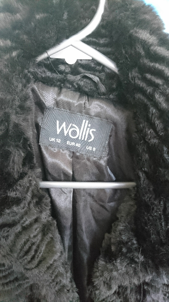 Wallis black fur like coat