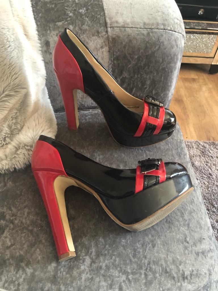Women's red black belle women shoes size 5