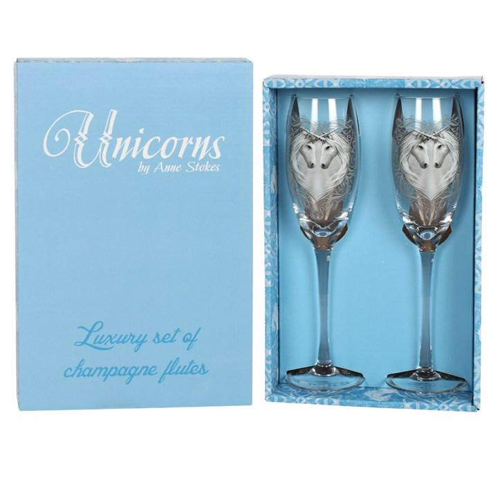 Anne Stokes Pair Of Unicorn Champagne Glasses
