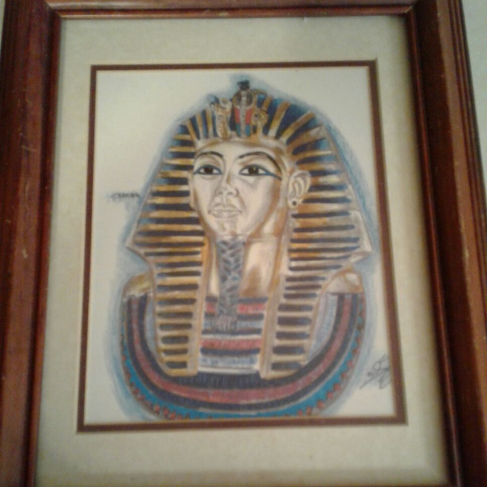 Framed portrait of King Tut