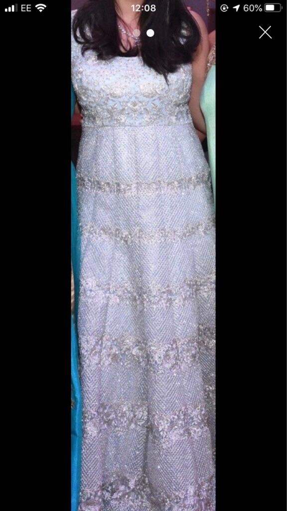 Beautiful Embellished Light Blue Diamond Studded Gown