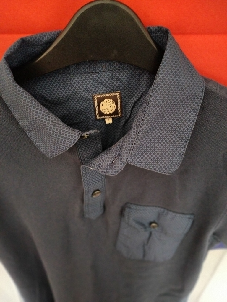 Pretty Green Navy Blue Polo Shirt UK Size Small