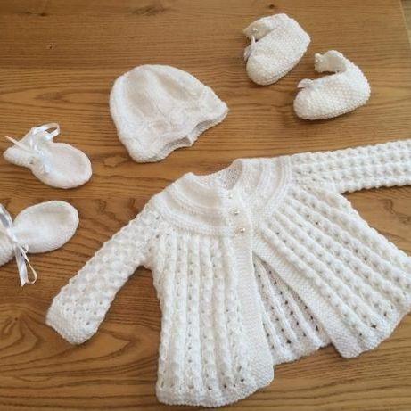 Handmade knitted baby matinee set-white