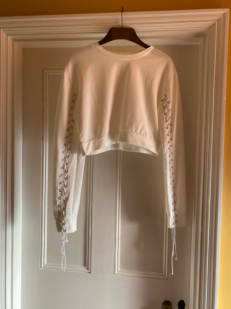 Shein crop top with lacing on arms
