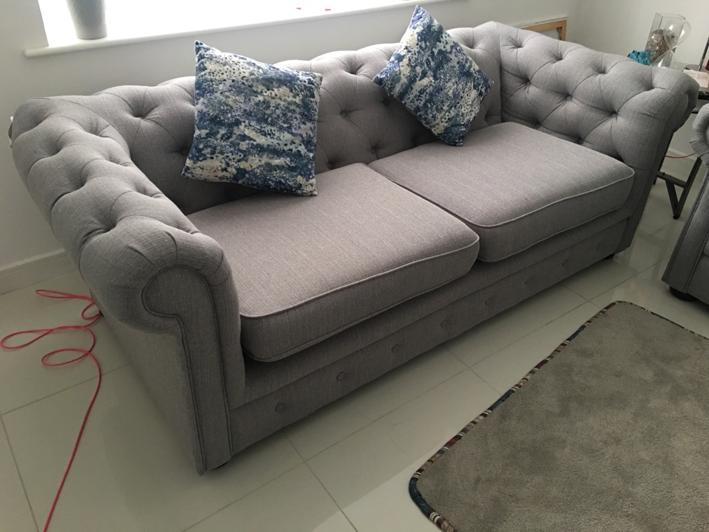 Excellent condition DFS fabric grey button 3 seaters