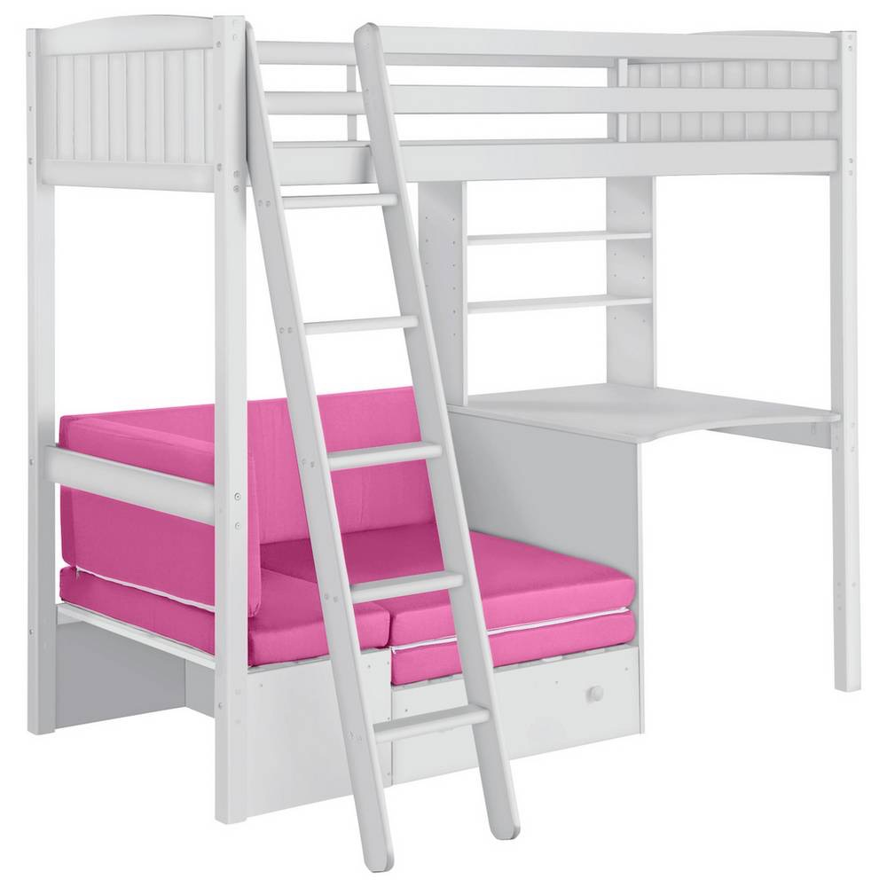 Classic White High Sleeper Bed With Pull Out Bed & Desk