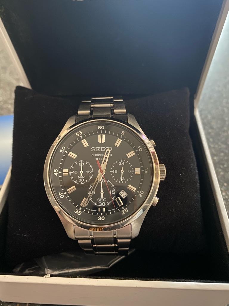 Seiko chronograph silver watch men's