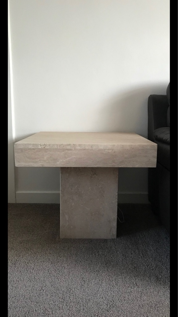 Solid Marble Side Table And X Marble Cubes Village - Marble cube coffee table