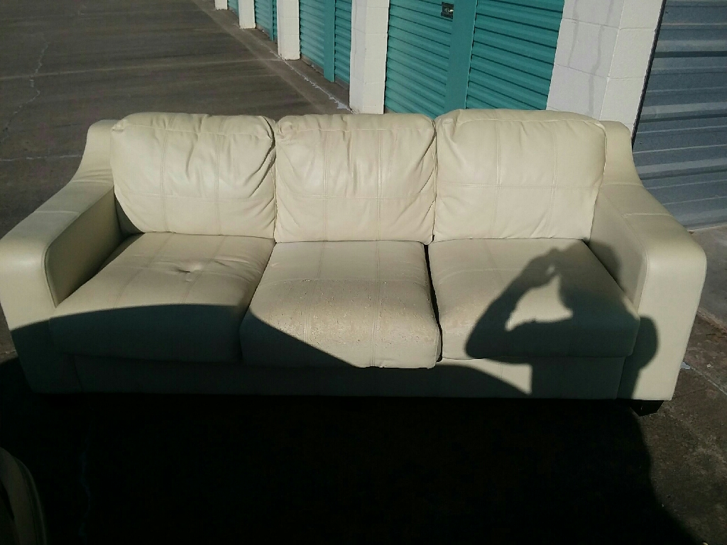 Creme Leather Couch