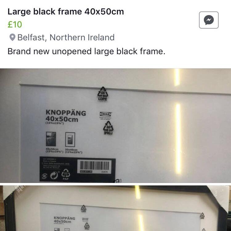 Black picture frame 40X50cm