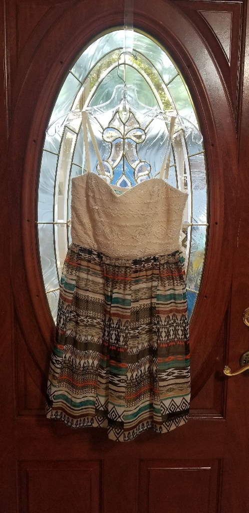 Cream Aztec Print Dress (Size 10) [Maurices]