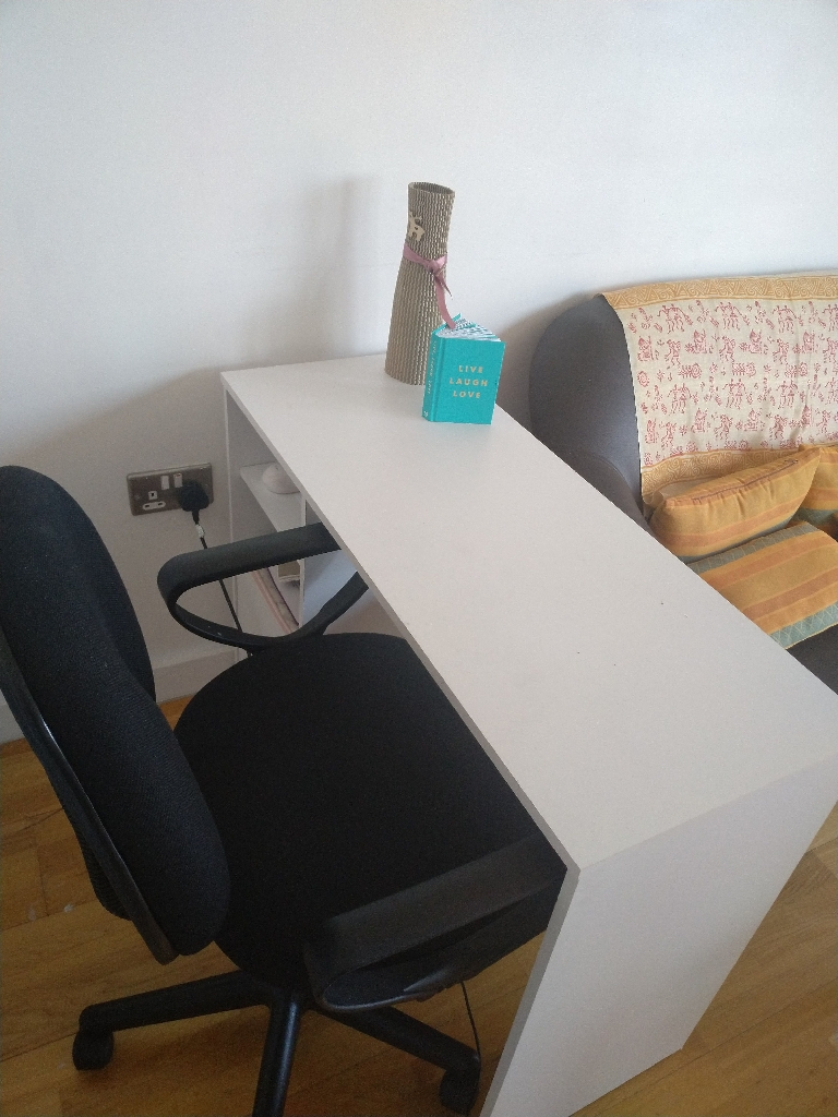 Office desk and comfy office chair