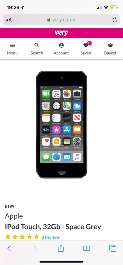 iPod Touch 7th Generation 32gb Space Grey