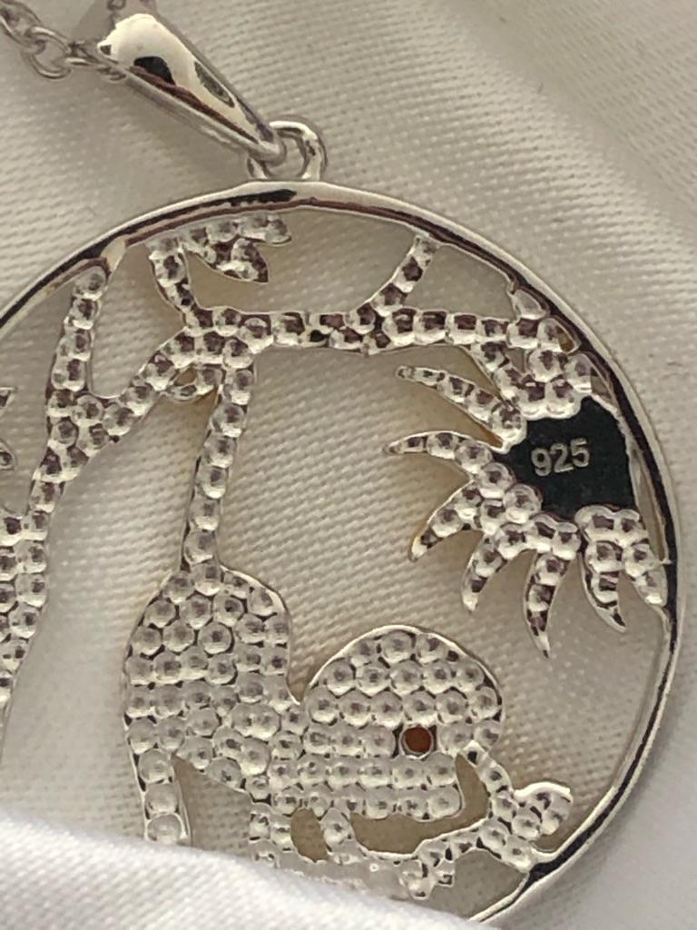Garnet Monkey Pendant Chain 18 inch Sterling Silver, Silver wt 5.30 Gms new