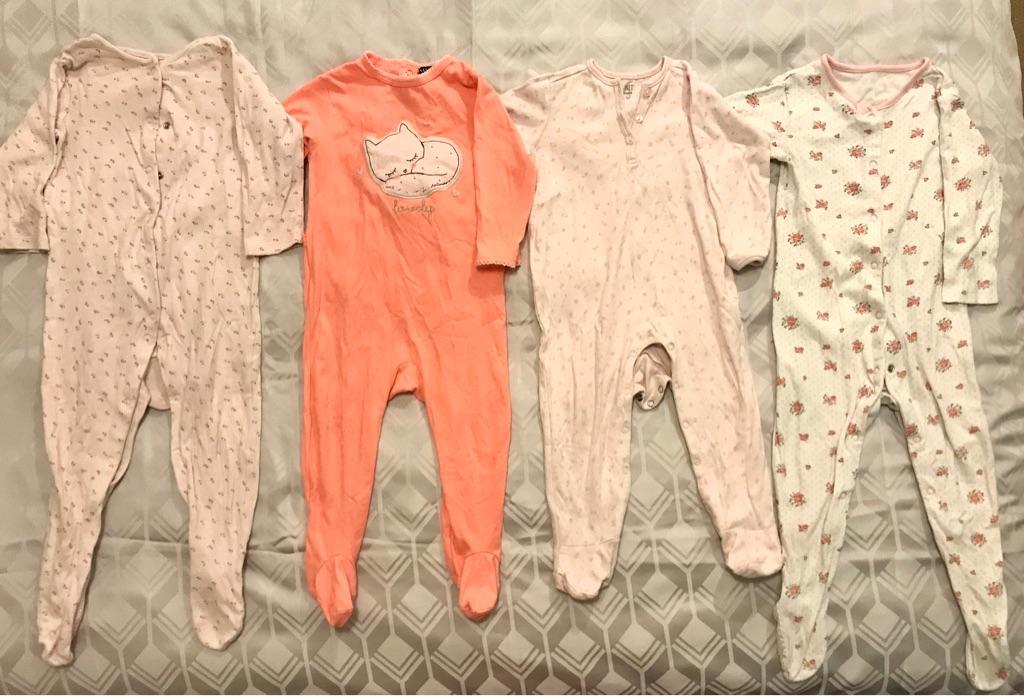 Girls Babygrows Sleepsuits Onesie Pyjamas 12-18M